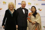 The Prince of Wales and the Duchess of Cornwall with International Development Secretary Priti Patel (right) during a reception and dinner for supporters of the British Asian Trust at Guildhall, London. (Photo by Frank Augstein/PA Images via Getty Images)