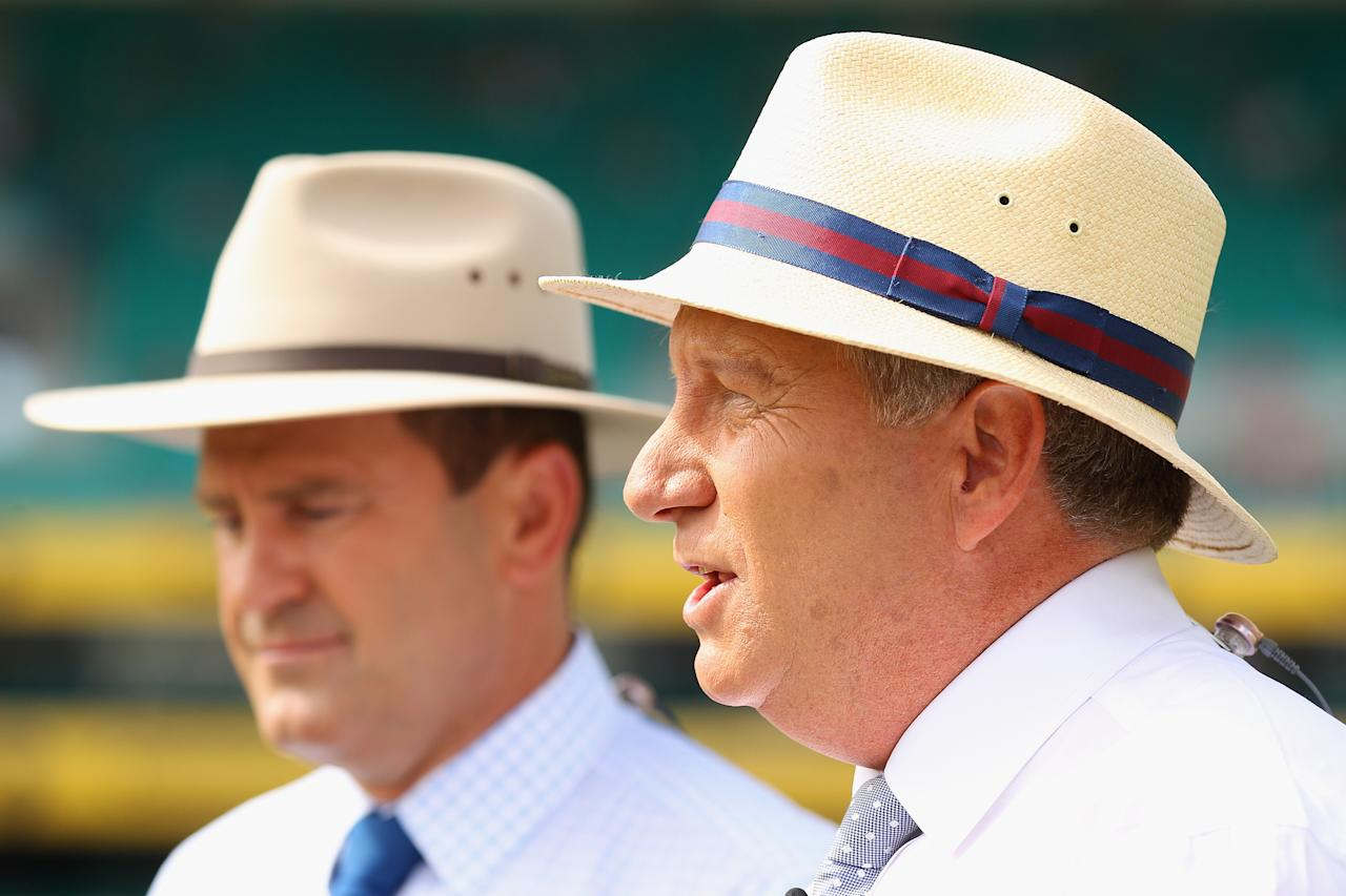 SYDNEY, AUSTRALIA - JANUARY 03:  (L-R) Commentators Mark Taylor and Ian Healy present during day one of the Third Test match between Australia and Sri Lanka at the Sydney Cricket Ground on January 3, 2013 in Sydney, Australia.  (Photo by Cameron Spencer/Getty Images)