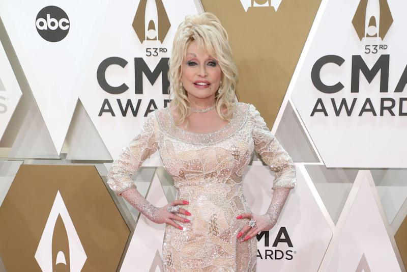 The country singer could recreate the cover for her 75th birthday. Pictured here at the CMA Awards in November 2019 (Getty)