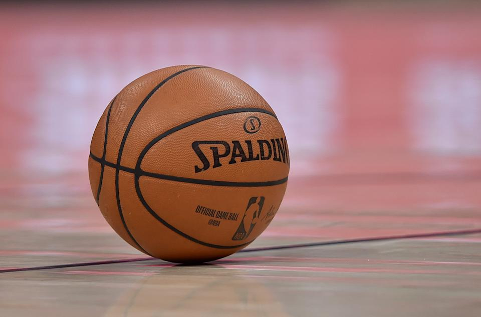 SALT LAKE CITY, UT - APRIL 01: General view of the ball used in a NBA game between the Charlotte Hornets and the Utah Jazz at Vivint Smart Home Arena on April 01, 2019 in Salt Lake City, Utah. NOTE TO USER: User expressly acknowledges and agrees that, by downloading and or using this photograph, User is consenting to the terms and conditions of the Getty Images License Agreement. (Photo by Gene Sweeney Jr./Getty Images)