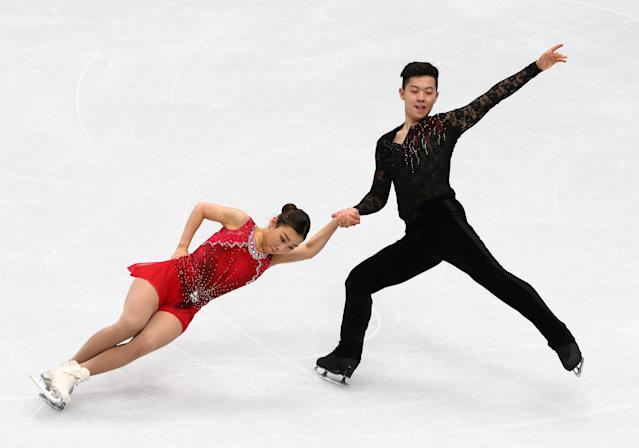 Figure Skating - World Figure Skating Championships - The Mediolanum Forum, Milan, Italy - March 21, 2018 South Korea's Kim Kyu-eun and Alex Kang-chan Kam during the Pairs Short Programme REUTERS/Alessandro Bianchi