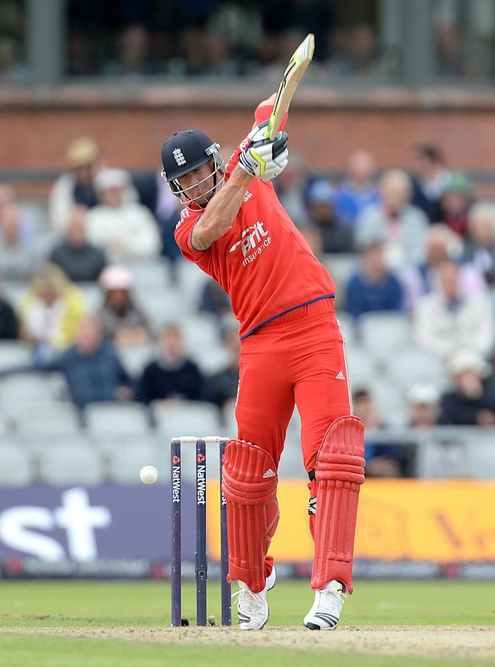England's Kevin Pietersen almost plays onto his stumps during his innings of 60 against Australia, during the Second One Day International at Old Trafford Cricket Ground, Manchester.