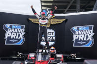 Rinus VeeKay, of the Netherlands, celebrates after winning the IndyCar auto race at Indianapolis Motor Speedway, Saturday, May 15, 2021, in Indianapolis. (AP Photo/Darron Cummings)a