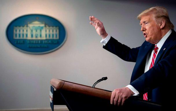 PHOTO: President Donald Trump speaks during the daily briefing on the new coronavirus at the White House, on March 20, 2020, in Washington. (Jim Watson/AFP via Getty Images)