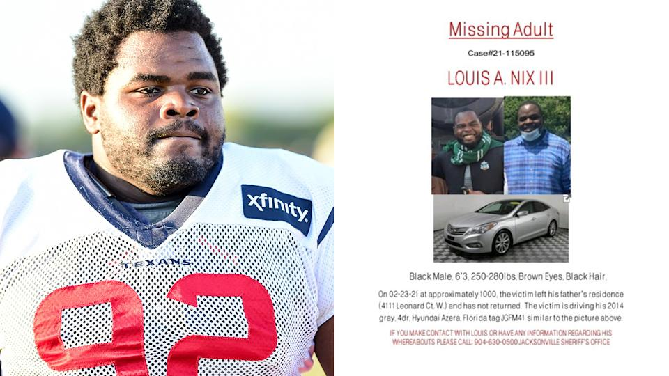 Louis Nix (pictured left) at training and (pictured right) is a missing person poster.