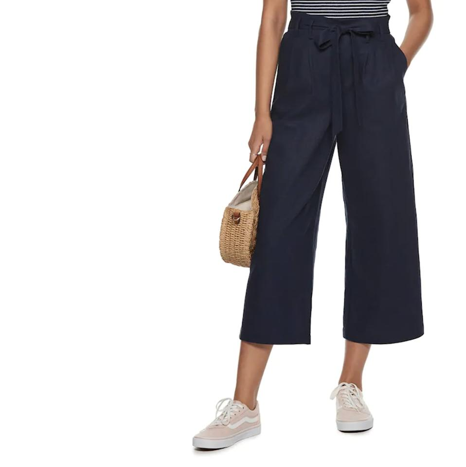 "<p>These <a href=""https://www.popsugar.com/buy/POPSUGAR-Wide-Leg-Paper-Bag-Pants-451020?p_name=POPSUGAR%20Wide-Leg%20Paper%20Bag%20Pants&retailer=kohls.com&pid=451020&price=37&evar1=fab%3Aus&evar9=45679915&evar98=https%3A%2F%2Fwww.popsugar.com%2Fphoto-gallery%2F45679915%2Fimage%2F46280839%2FPOPSUGAR-Wide-Leg-Paper-Bag-Pants&list1=shopping%2Ctravel%2Csummer%20travel%2Cspring%20fashion%2Ctravel%20outfits%2Csummer%20fashion&prop13=api&pdata=1"" rel=""nofollow"" data-shoppable-link=""1"" target=""_blank"" class=""ga-track"" data-ga-category=""Related"" data-ga-label=""https://www.kohls.com/product/prd-3693672/womens-popsugar-wide-leg-paper-bag-pants.jsp?prdPV=5"" data-ga-action=""In-Line Links"">POPSUGAR Wide-Leg Paper Bag Pants</a> ($37, originally $50) are an editor favorite.</p>"