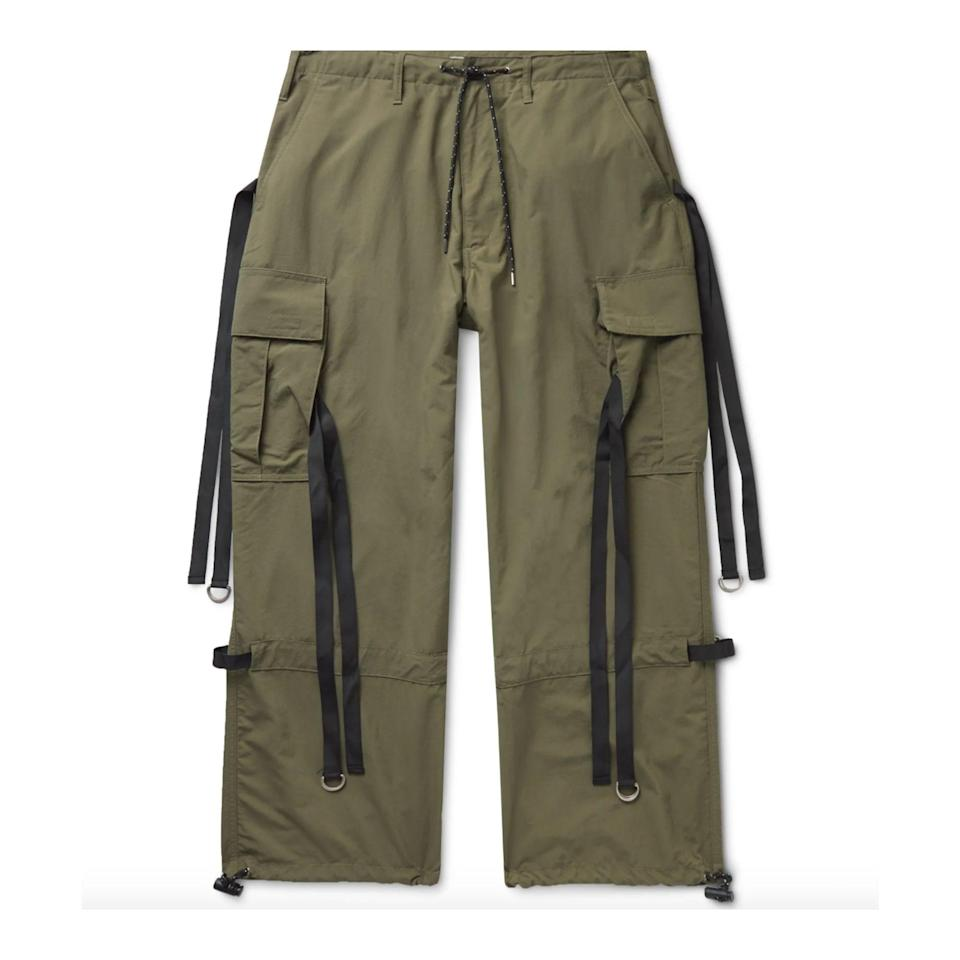 """<p><strong>Flagstuff</strong></p><p>mrporter.com</p><p><strong>$400.00</strong></p><p><a href=""""https://go.redirectingat.com?id=74968X1596630&url=https%3A%2F%2Fwww.mrporter.com%2Fen-us%2Fmens%2Fproduct%2Fflagstuff%2Fclothing%2Fcasual-trousers%2Fwide-leg-webbing-trimmed-ripstop-cargo-trousers%2F24092600057229238&sref=https%3A%2F%2Fwww.esquire.com%2Fstyle%2Fmens-fashion%2Fg34645350%2Fbest-performance-pants-men%2F"""" rel=""""nofollow noopener"""" target=""""_blank"""" data-ylk=""""slk:Buy"""" class=""""link rapid-noclick-resp"""">Buy</a></p>"""