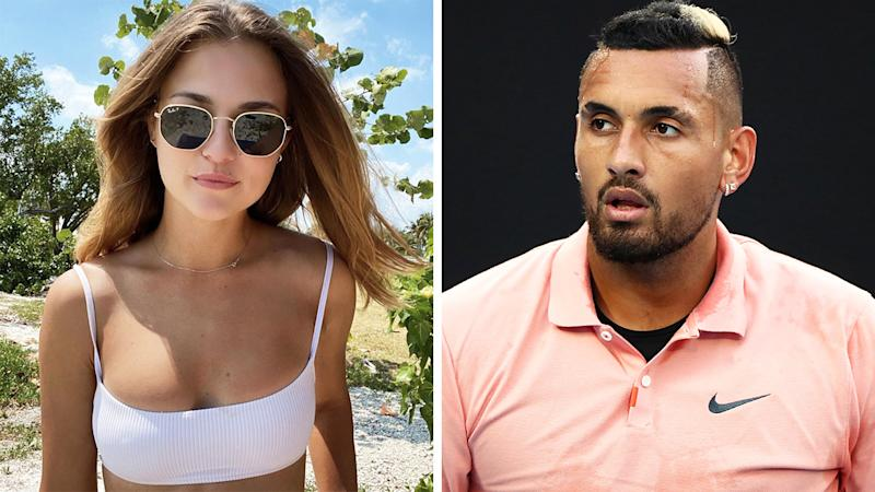 Anna Kalinskaya and Nick Kyrgios are pictured in a 50/50 split image.