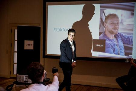 Uber Denmark's spokesperson Kristian Agerbo is seen during a news conference to announce Uber's end of service in Denmark