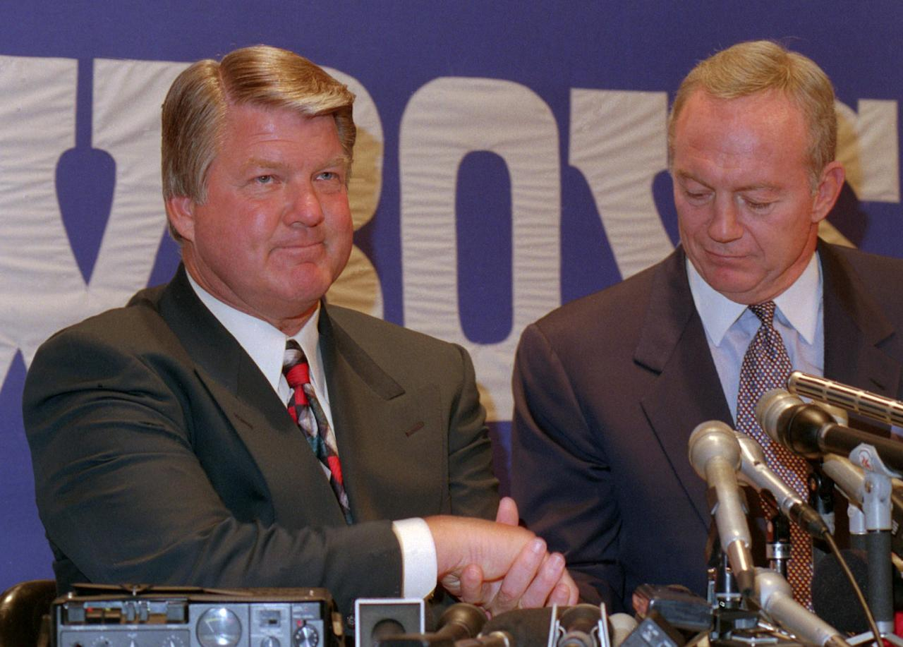 <p>It's hard to believe that the power struggle between the Dallas Cowboys' owner and former head coach got so bad that Johnson was cut out of one of the greatest dynasties in football history right at the pinnacle. Mere months after Dallas secured its second straight Super Bowl victory in 1994, Johnson was ousted as the coach due to an ongoing battle with Jones over control of football personnel decisions. Johnson and Jones were once great friends, which is a big reason why Johnson was hired to coach the team in the first place. And the feud has continued for year, with Jones declaring as in 2014 that Johnson will never be included in the team's Ring of Honor. However, Jones spoke glowingly of Johnson when the owner was inducted into the Pro Football Hall of Fame earlier this month. </p>