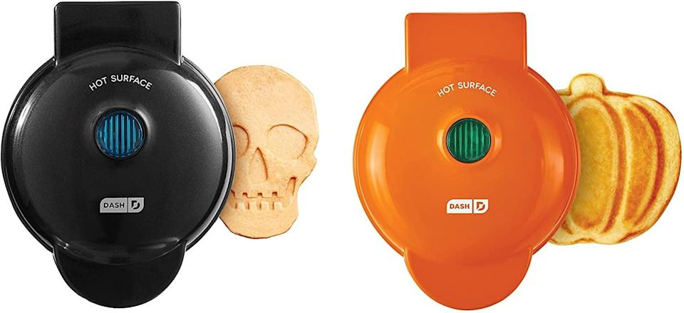 <p>Make brunch spooky and festive with these fun <span>Dash Mini Waffle Maker in Skull and Pumpkin</span> ($30 for two). It's easy to clean with non-stick surfaces. You can make more than just waffles, including hash browns and more!</p>