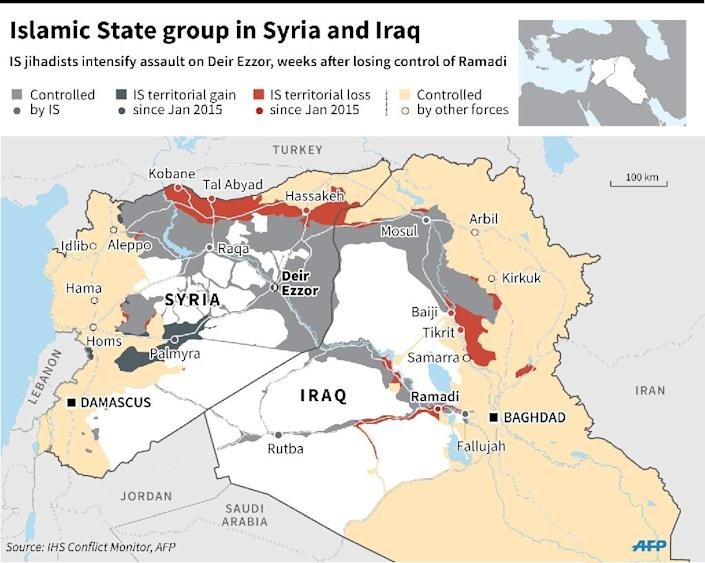 Map of Syria and Iraq showing areas controlled by IS jihadists, their territorial gains and losses since January 2015, the besieged city of Deir Ezzor and areas controlled by other groups. (AFP Photo/Laurence Saubadu, Adrian Leung, Thomas Saint-Cricq)