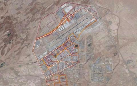 <span>A portion of the Strava Labs heat map from Kandahar Airfield in Afghanistan, made by tracking activities</span> <span>Credit: Strava labs </span>