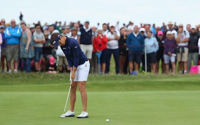 Georgia Hall of England makes a putt on the 2nd green during day three of the Ricoh Women's British Open - R&A