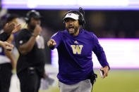 Washington head coach Jimmy Lake yells toward the field in the first half of an NCAA college football game against California, Saturday, Sept. 25, 2021, in Seattle. (AP Photo/Elaine Thompson)