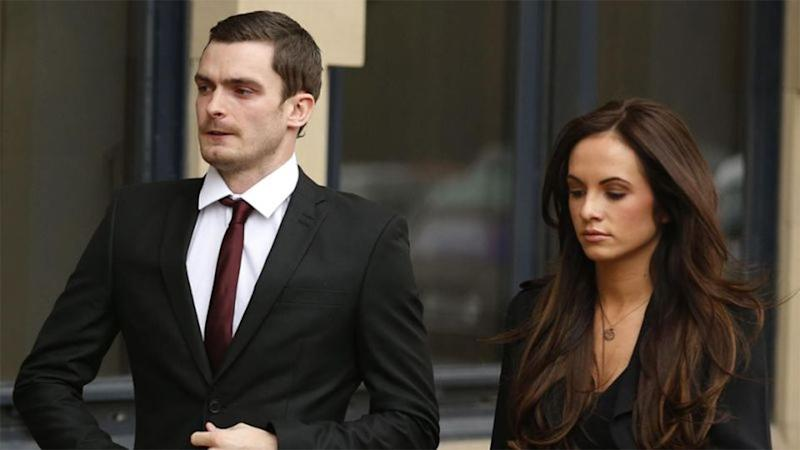 Former Sunderland soccer player Adam Johnson arrives with his girlfriend Stacey Flounders at Bradford Crown Court in Bradford