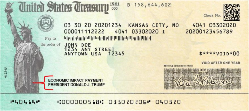 The paper version - featuring President Trump's name - of the Economic Impact Payment checks. Most of money was distributed via direct deposit (U.S. Secret Service)