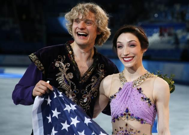 Charlie White and Meryl Davis after performing their Ice Dancing long program at the Winter Olympics in Sochi at the Ice Berg arena February 17, 2014 -- Getty Images