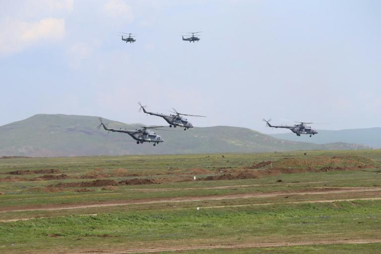 Russian military helicopters overfly manoeuvres on the Kerch peninsula in eastern Crimea