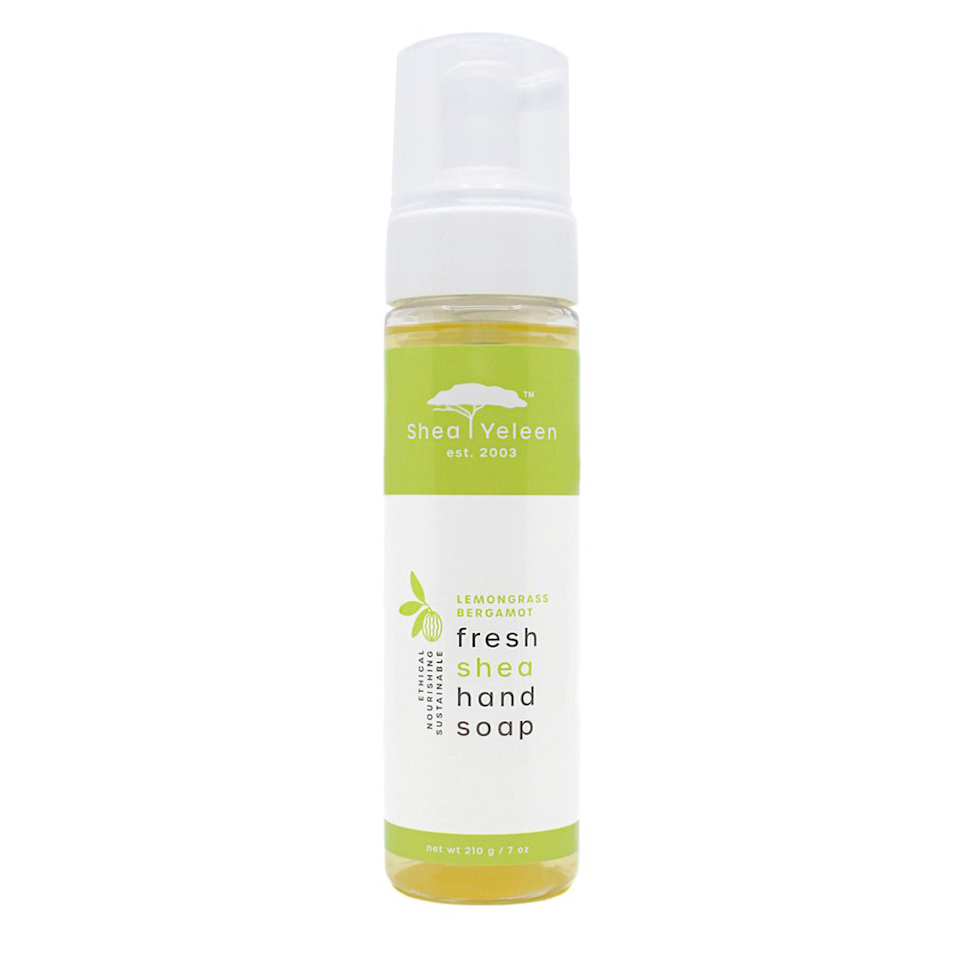 """<p>sheayeleen.com</p><p><strong>$18.00</strong></p><p><a href=""""https://sheayeleen.com/collections/hand-soap/products/lemongrass-bergamot-hand-soap"""" rel=""""nofollow noopener"""" target=""""_blank"""" data-ylk=""""slk:Shop Now"""" class=""""link rapid-noclick-resp"""">Shop Now</a></p><p>Made without artificial fragrances or dyes, this hand soap from Shea Yeleen is made in small batches organically and fairly. Besides the sweet citrus of the lemongrass and bergamot, the shea butter ingredient helps soothe skin along with vitamins A and E. Besides, who doesn't love a foam pump!</p>"""