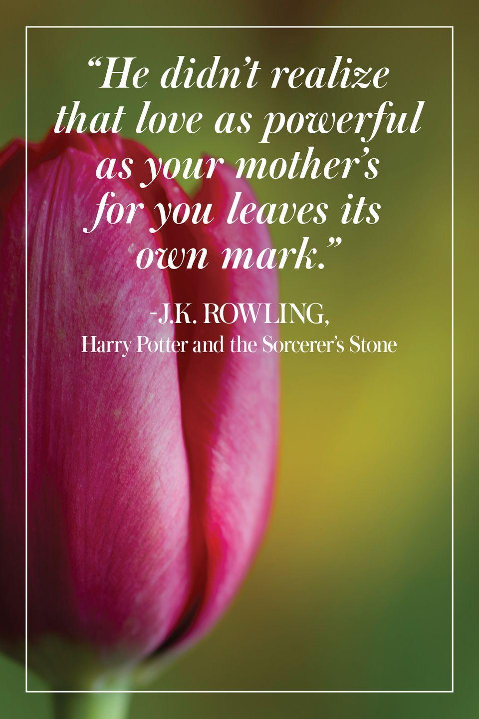 """<p>""""He didn't realize that love as powerful as your mother's for you leaves its own mark."""" </p><p>- J.K. Rowling, <em>Harry Potter and the Sorcerer's Stone</em></p>"""