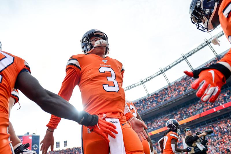 Drew Lock and the Denver Broncos posted a come-from-behind win over Detroit on Sunday. (Dustin Bradford/Getty Images)