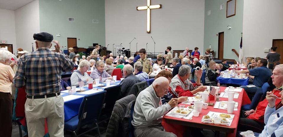 Parkview United Methodist Church in Miamisburg, Ohio has hosted an Election Day meal every year since 1901 — but this year will have a drive-through instead of the traditional sit-down dinner shown here. (Photo: Courtesy of Parkview United Methodist Church)