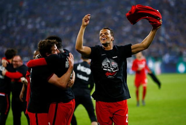 Soccer Football - DFB Cup - Schalke 04 vs Eintracht Frankfurt - Veltins-Arena, Gelsenkirchen, Germany - April 18, 2018 Eintracht Frankfurt's Timothy Chandler celebrates after reaching the final REUTERS/Wolfgang Rattay DFB RULES PROHIBIT USE IN MMS SERVICES VIA HANDHELD DEVICES UNTIL TWO HOURS AFTER A MATCH AND ANY USAGE ON INTERNET OR ONLINE MEDIA SIMULATING VIDEO FOOTAGE DURING THE MATCH.