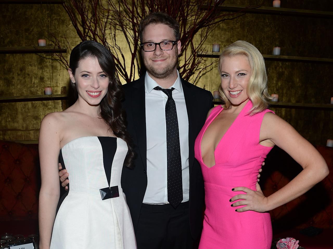 """NEW YORK, NY - AUGUST 21:  Lauren Miller, Seth Rogen and Ari Graynor attend the after party for the """"For A Good Time, Call..."""" premiere at Ajna Bar on August 21, 2012 in New York City.  (Photo by Jason Kempin/Getty Images)"""