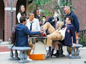 <p>The stars of the upcoming <em>Gossip Girl</em> reboot kick back on the show's New York City set on Thursday.</p>