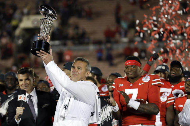 Ohio State coach Urban Meyer could be getting into the broadcasting business again. (AP Photo/Marcio Jose Sanchez)