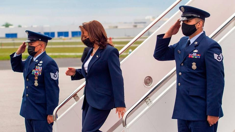 Vice President Kamala Harris steps off Air Force 2 Monday, April 18, 2021 at Piedmont Triad International Airport in Greensboro.