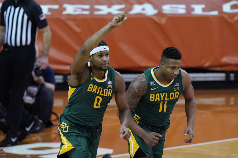 Forward Flo Thamba (0) and Baylor are a near lock to be a No. 1 seed in the NCAA tournament. (AP Photo/Eric Gay)
