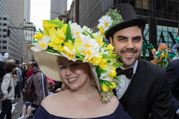 Minna Steel and Keegan Steel of New York City show off their Sunday best as they participate in the Easter Parade and Bonnet Festival, Sunday, April 21, 2019, in New York. (Photo: Gordon Donovan/Yahoo News)