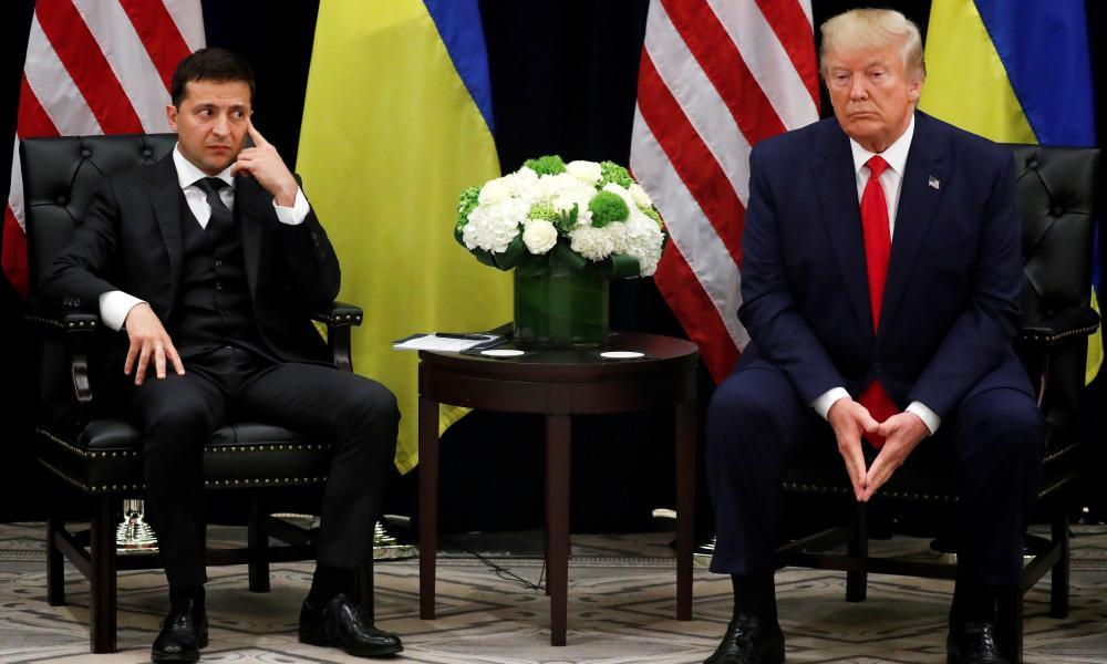 "<span class=""element-image__caption"">Volodymyr Zelenskiy listens during a bilateral meeting with Donald Trump in New York.</span> <span class=""element-image__credit"">Photograph: Jonathan Ernst/Reuters</span>"
