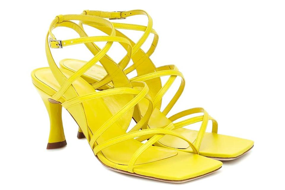 yellow heels, sandals, by far