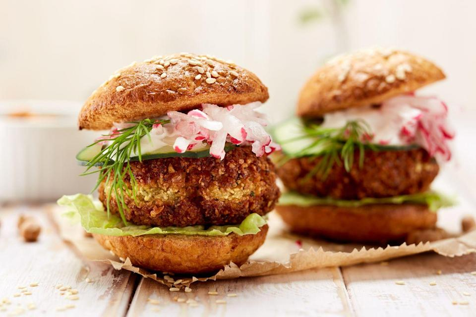 "<p>Falafel is made from chickpeas. Chickpeas are plant-based. Falafel makes an incredible plant-based burger.</p><p>Here's a great <a href=""https://www.delish.com/cooking/recipe-ideas/recipes/a47715/falafel-burgers-recipe/"" rel=""nofollow noopener"" target=""_blank"" data-ylk=""slk:recipe"" class=""link rapid-noclick-resp"">recipe</a>.</p>"