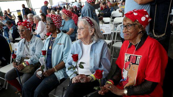 PHOTO: In this Aug. 10, 2019, file photo, original Rosie the Riveters Willa Thomas, Beatrice Mitchell, Mabel Gallagher and Jessie Santos, from right, take part in the 5th Annual Rosie Rally Home Front Festival in Richmond, Calif. (Jane Tyska/MediaNews Group/The Mercury News via Getty Images, FILE)