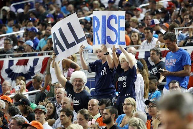 Aaron Judge had fans in costumes at Marlins Park. (Getty Images)