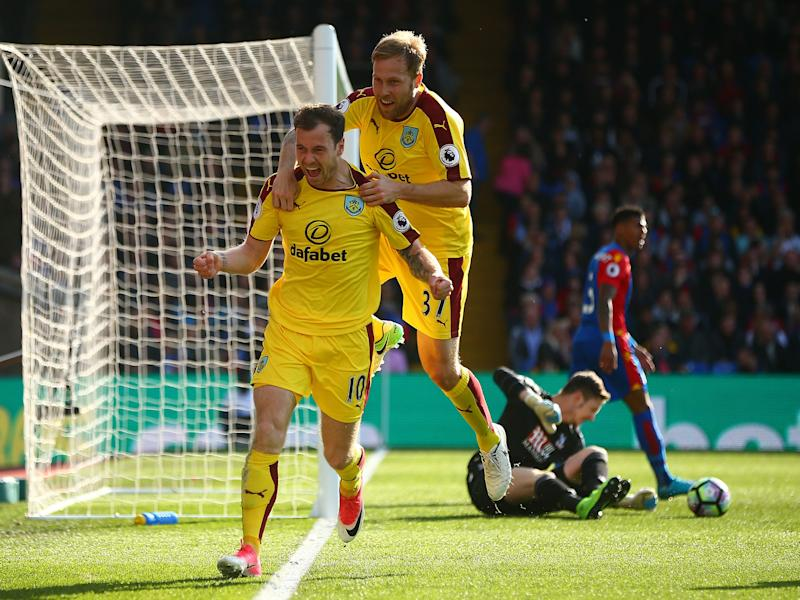 Ashley Barnes celebrates scoring for Burnley against Crystal Palace: Getty