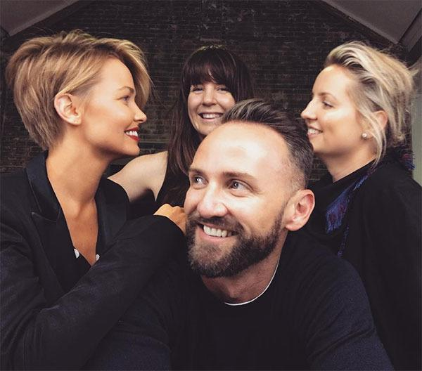 """<br>Lara's stylist Travis Balcke also shared another angle of the look, """"Fresh hair cut for @laraworthington and happy times with @mafoninastylist @victoriabaron,"""" he wrote."""