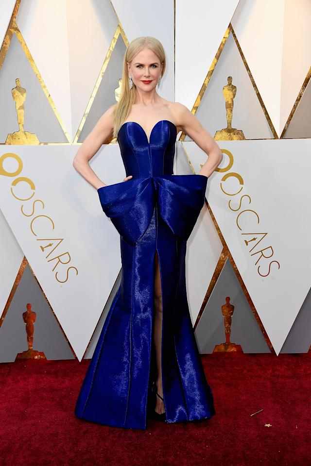 <p>It's Hollywood's night of nights and in no particular order, here are the top fan favourite celebs that slayed the red carpet.<br/>Naturally, our Nic looked effortlessly elegant in a bold blue bowed Armani Privé dress, with Harry Winston jewellery and Christian Louboutin shoes.</p>