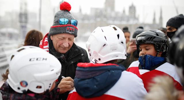 "<a class=""link rapid-noclick-resp"" href=""/nhl/teams/ott/"" data-ylk=""slk:Ottawa Senators"">Ottawa Senators</a> owner Eugene Melnyk threatened relocation on the eve of the franchise's outdoor game. (Photo by Mark Blinch/NHLI via Getty Images)"