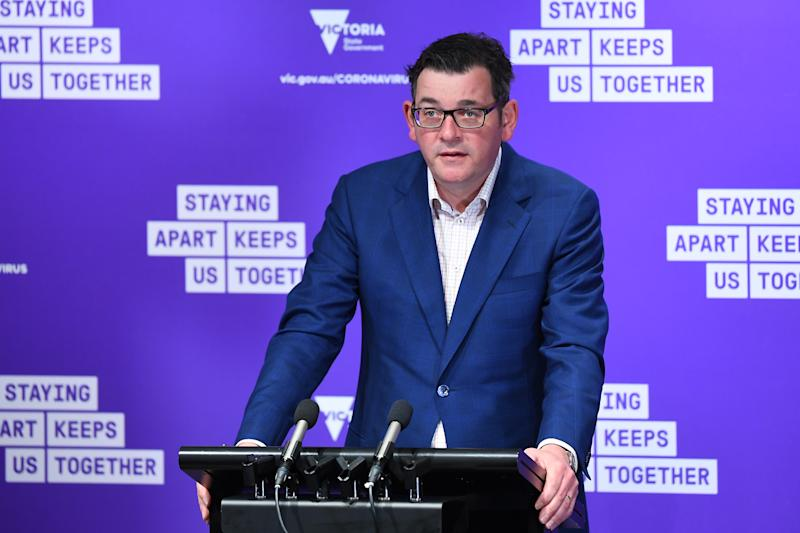 Victorian Premier Daniel Andrews used 20 daily cases as an example of moving forward to its next phase. Source: AAP
