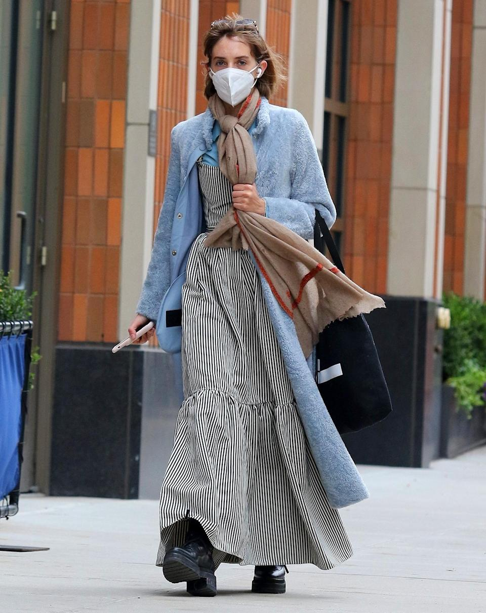<p>Maya Hawke layers up as she heads out on a chilly fall Tuesday in N.Y.C.</p>
