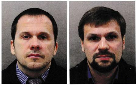 FILE PHOTO: Alexander Petrov and Ruslan Boshirov, who were formally accused of attempting to murder former Russian intelligence officer Sergei Skripal and his daughter Yulia in Salisbury, are seen in an image handed out by the Metropolitan Police in London