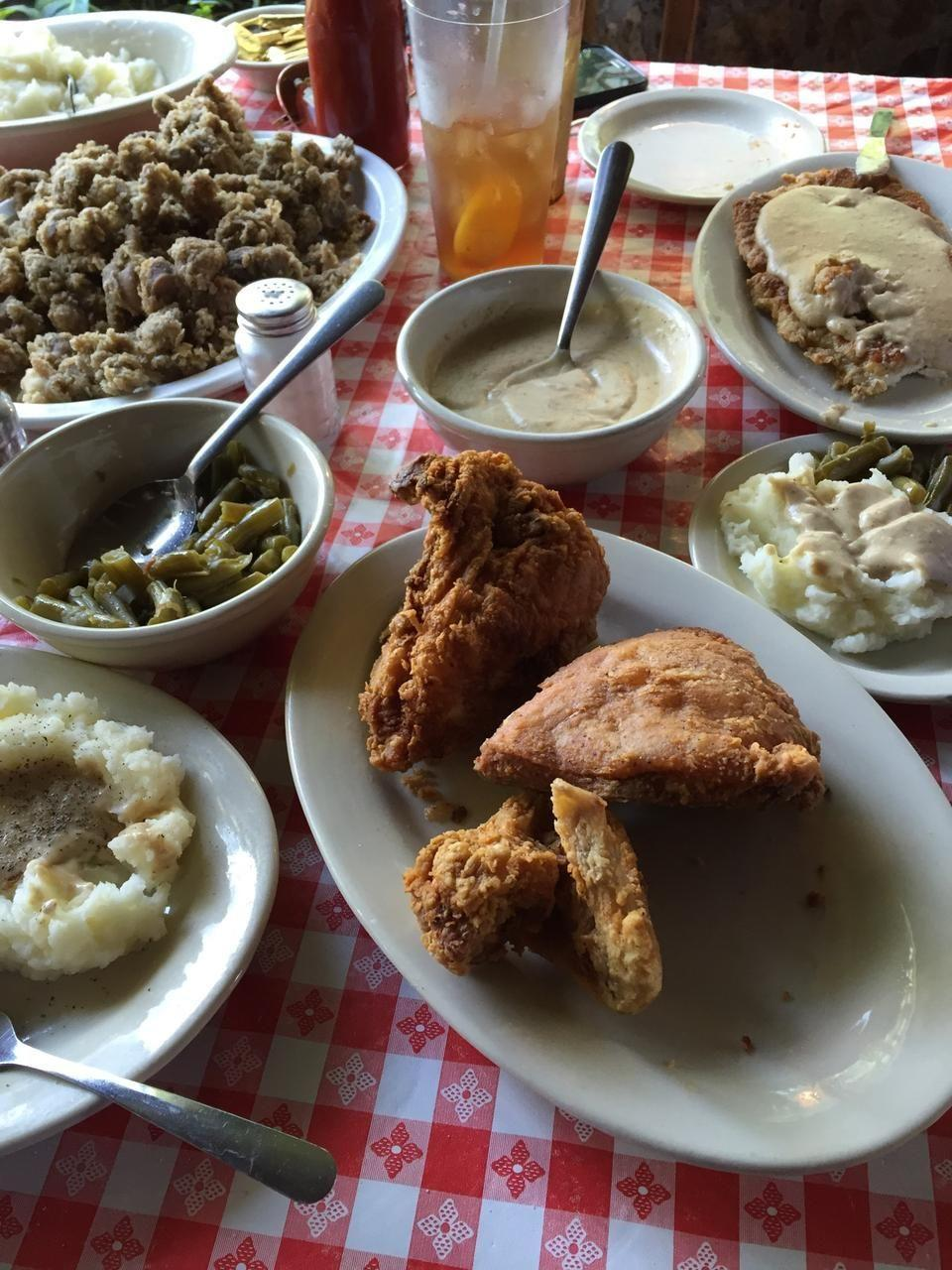 """<p><a href=""""https://www.tripadvisor.com/Restaurant_Review-g44535-d390661-Reviews-Stroud_s_Restaurant_Bar-Kansas_City_Missouri.html"""" rel=""""nofollow noopener"""" target=""""_blank"""" data-ylk=""""slk:Stroud's Restaurant & Bar"""" class=""""link rapid-noclick-resp"""">Stroud's Restaurant & Bar</a>, Kansas City</p><p>This place has the best pan-fried chicken in the whole Midwest! The cinnamon rolls are quite a tasty treat too. - Foursquare user <a href=""""https://foursquare.com/user/62914888"""" rel=""""nofollow noopener"""" target=""""_blank"""" data-ylk=""""slk:Cheryl McOsker"""" class=""""link rapid-noclick-resp"""">Cheryl McOsker</a></p>"""