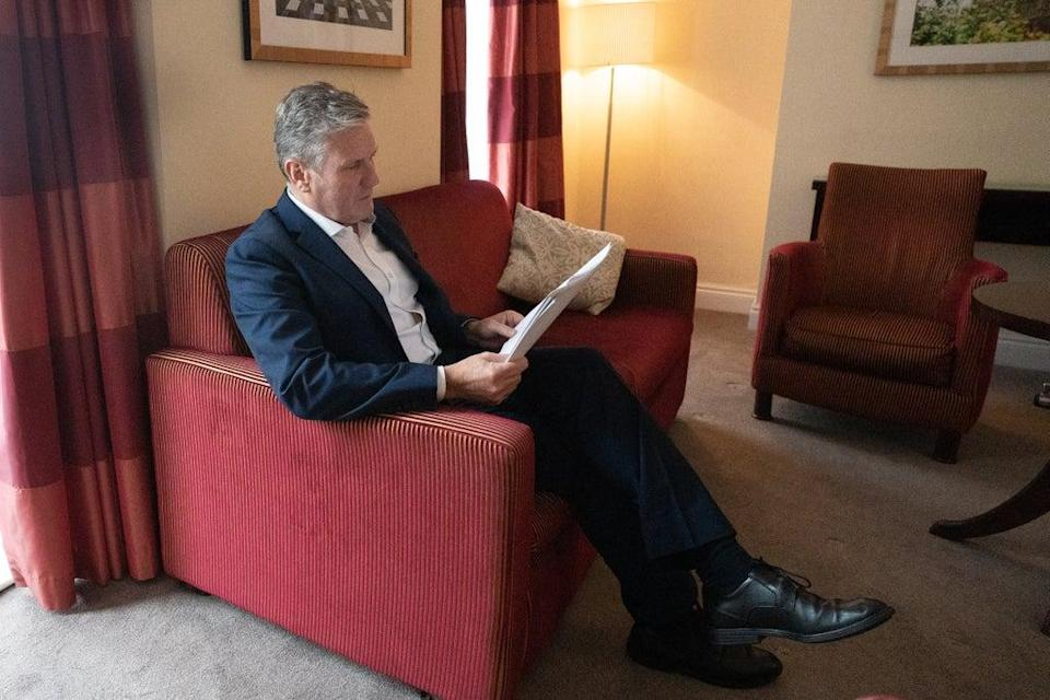 Labour leader, Sir Keir Starmer prepares his Labour Party conference speech in his hotel room in Brighton (Stefan Rousseau/PA) (PA Wire)