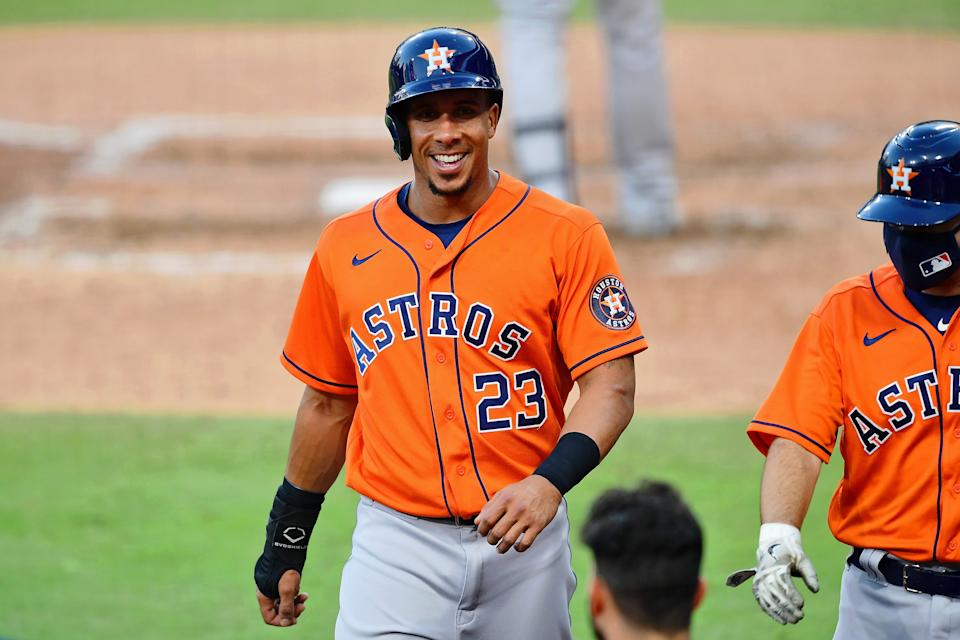 Michael Brantley has re-signed with the Astros on a two-year deal. (Jayne Kamin-Oncea-USA TODAY Sports)