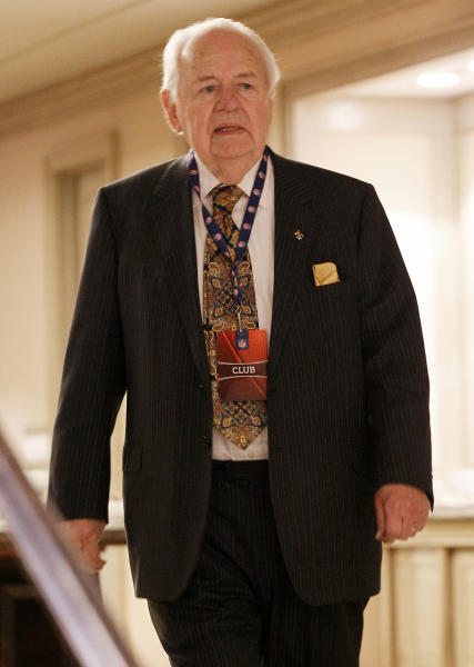 New Orleans Saints owner Tom Benson walks in a hallway at the hotel hosting the NFL owners meeting, Wednesday, Dec. 12, 2012, in Irving, Texas. (AP Photo/LM Otero)